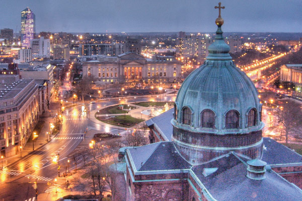 The Benjamin Franklin Parkway, with the  Cathedral Basilica of St. Peter and Paul in the foreground
